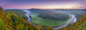 UK, England, Herefordshire, view north along River Wye from Symonds Yat Rock