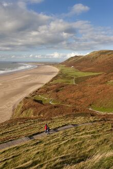 UK, Wales, Glamorgan, Gower Peninsula, Rhossilli Bay