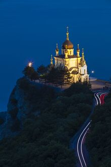 Ukraine, Crimea, Foros, Foros church sitting on top of a cliff overlooking the Black Sea