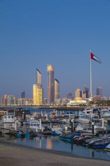 United Arab Emirates, Abu Dhabi, View of Marina and City skyline looking towards