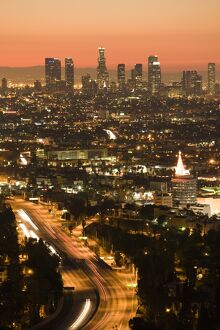 USA, California, Los Angeles, Downtown and Hollywood Freeway 101 from Hollywood Bowl