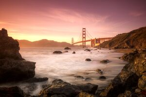 USA, California, San Francisco, Golden Gate Bridge from Marshall Beach