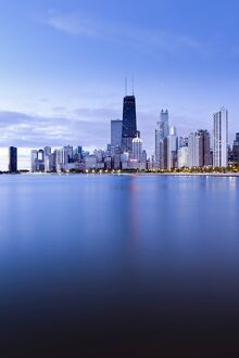 USA, Illinois, Chicago, The Hancock Tower and Downtown skyline from Lake Michigan