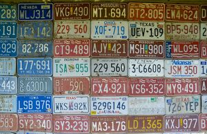USA, Missouri, Route 66, near Carthage, Car number plates
