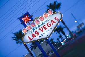 USA, Nevada, Las Vegas, Welcome to Fabulous Las Vegas Sign, defocussed