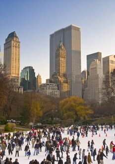 USA, New York City, Manhattan,Central Park, Wollman Icerink
