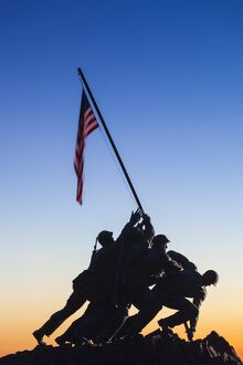 USA, Virginia, Arlington, US Marine and Iwo Jima Memorial, dawn