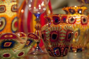 Venice, Veneto, Italy; the famed, colourful Murano Glass on display in a shop window