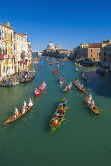 Venice, Veneto, Italy. Historical regatta event on the Grand Canal