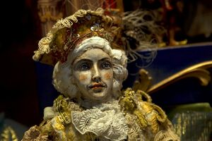 Venice, Veneto, Italy; A mannequin in luxurious costume