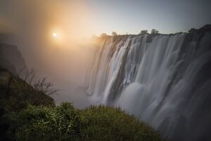 Victoria falls at sunset, depicted from Zambian side