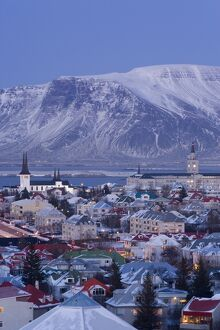 View over Reykjavik in winter, Iceland