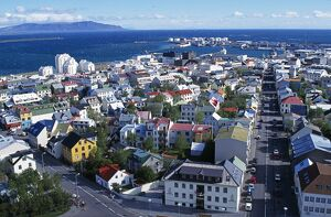 Views from the top of Hallgrimskirkja, looking over Reykjavik