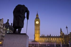 Winston Churchill Statue, Big Ben, Houses of Parliamant, London, England