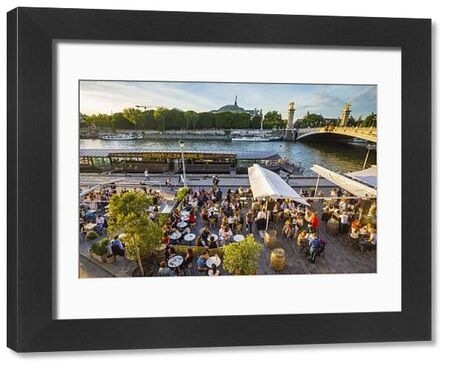 Outdoor cafe/restaurant by the River Seine & Pont Alexandre III, Paris, France