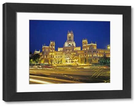 Plaza de Cibeles illuminated at night, Madrid, Spain, Europe