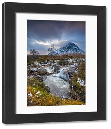 UK, Scotland, Highland, Glen Coe, River Coupall, Coupall Falls and Buachaille Etive Mor