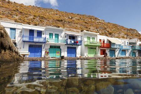 Colourful houses in the small village of Klima on the island of Milos, Cyclades, Greece