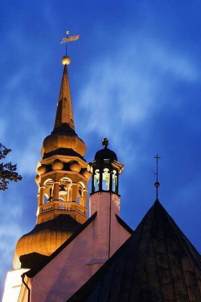 The Baltic States, Estonia, Tallinn, 14th Century Lutheran Toomkirk (Dome Church) on Toompea Hill lit up at night, Located in the Unesco World Heritage Old Town