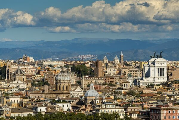 City skyline from Gianicolo or Janiculum hill, Rome, Lazio, Italy