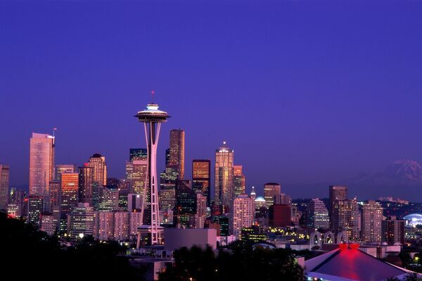 City Skyline & Space Needle / Mount Rainier in Background / Night View, Seattle, Washington, USA City Skyline & Space Needle / Mount Rainier in Background / Night View, Seattle, Washington, USA