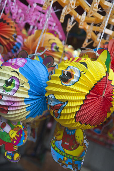 Colourful decorations for the Mid Autumn moon festival, Old Quarter, Hanoi, Vietnam
