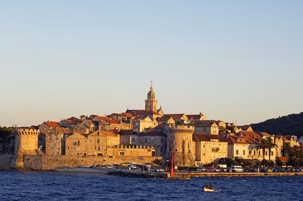 Dalmatia Coast Korcula Island Seafront Harbour View of Medieval Old Town and City Walls The Balkans Croatia Dalmatia Coast Korcula Island Seafront Harbour View of Medieval Old Town and City Walls
