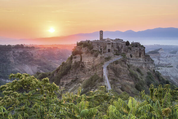 The first sun at Civita of Bagnoregio, Province of Viterbo, Lazio, Italy, Europe