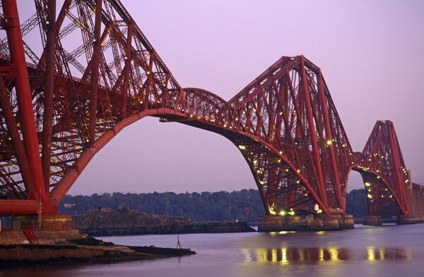 The Forth Rail Bridge, Firth of Forth, Edinburgh, Scotland. The 2.5 km.(1.5 mile) Bridge was the world?s first major steel bridge,1890
