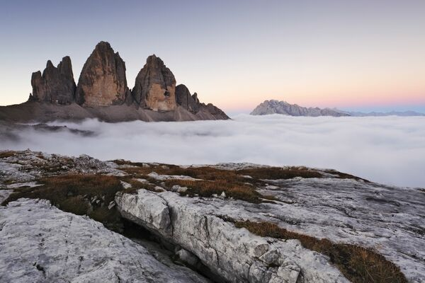 Italy, Trentino Alto Adige, Dolomites, clouds rising on Three Peaks of Lavaredo