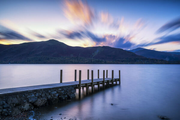 Jetty on Derwent Water, Lake District National Park, Cumbria, England