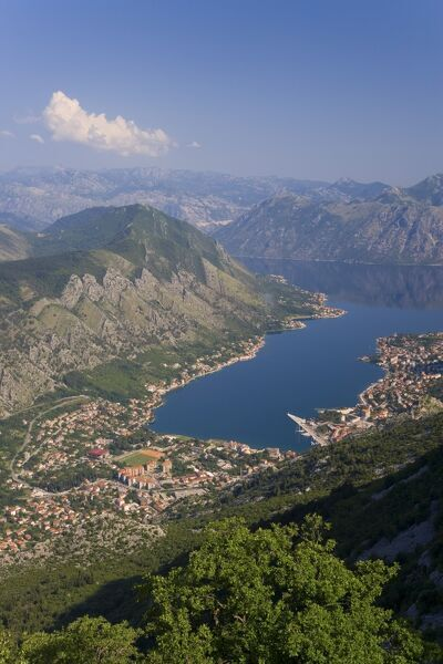 Kotor, Bay of Kotorska, Adriatic coast, Montenegro Eastern Europe, Balkans, Montenegro, Adriatic coast, Bay of Kotor, Kotor, elevated view of the Fjord, Town of Kotor and surrounding mountains