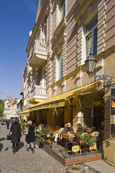 Lithuania, Vilnius, Old Town, street cafes along Pilies Street