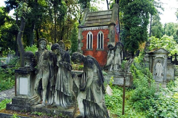 Lychakiv Cemetery Graveyard Decorated with Statues Ukraine Lviv Lychakiv Cemetery Graveyard Decorated with Statues