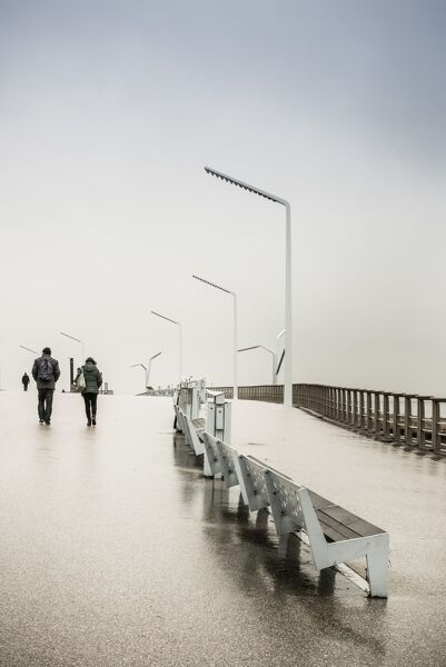 Netherlands, Scheveningen, Strand Noord Beach walkway, winter