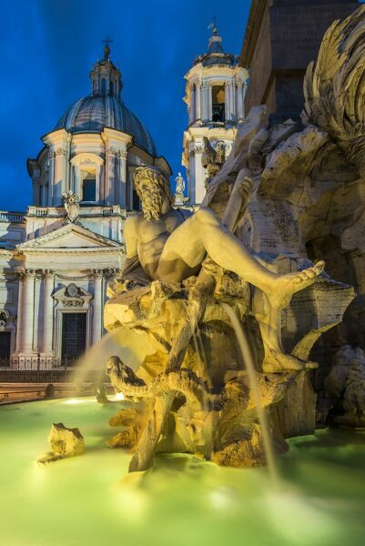 Night view of Fountain of the four Rivers, Piazza Navona, Rome, Lazio, Italy