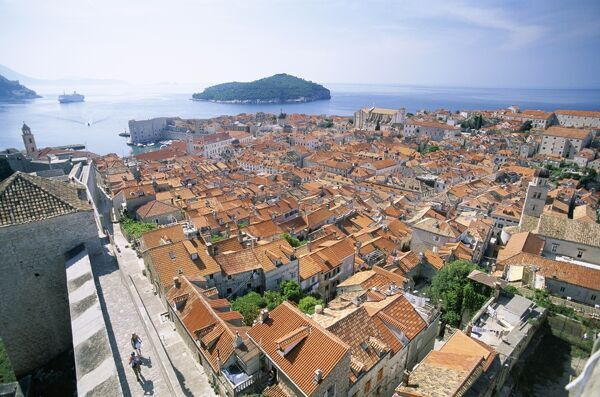 The Old City Rooftops & Island of Lokrum, Dubrovnik, Dalmatian Coast, Croatia The Old City Rooftops & Island of Lokrum, Dubrovnik, Dalmatian Coast, Croatia