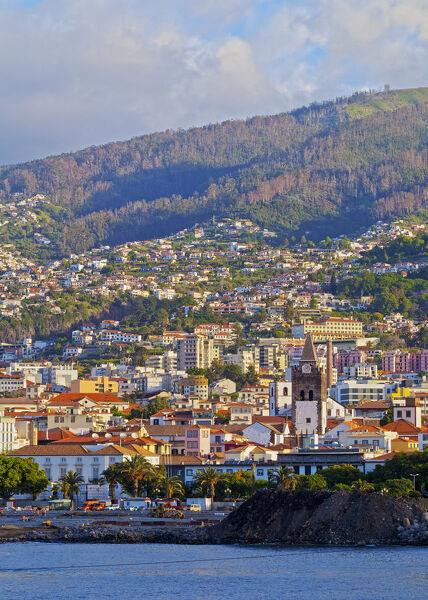 Portugal, Madeira, Funchal, Cityscape of Funchal viewed from the sea