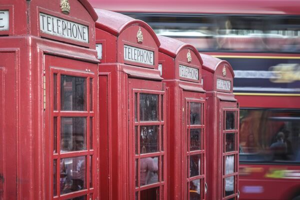 Red phone boxes, London, England, UK