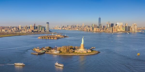Statue of Liberty, Jersey City and Lower Manhattan, New York City, New York, USA