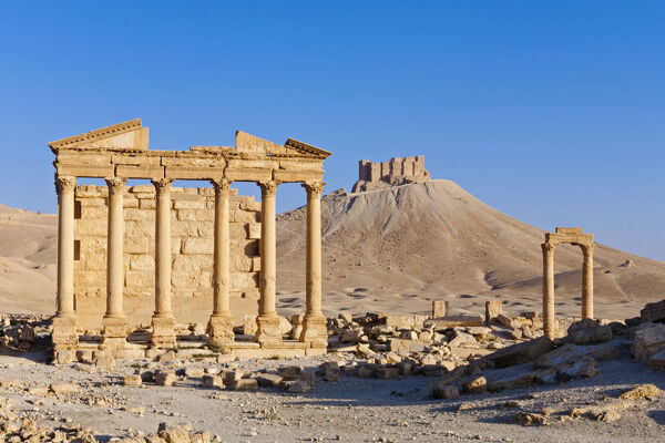 Syria, Homs Governate, Palmyra. Funerary Temple and Arab Citadel