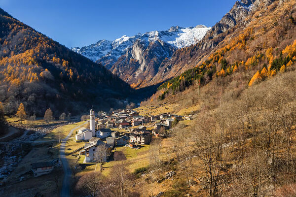 View of the village of Bodengo in autumn, val Bodengo, val Chiavenna, province of Sondrio