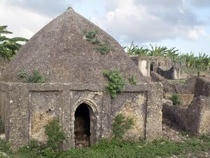 The 17th century tomb of Mwenya Bunu among ruins on