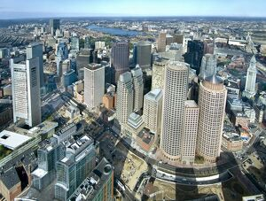 Aerial view of downtown Boston, Massachusetts, USA