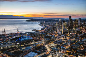 Aerial view of Seattle downtown skyline at dusk, Seattle, Washington, USA