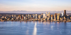 Aerial view of Seattle downtown skyline at sunset, Seattle, Washington, USA