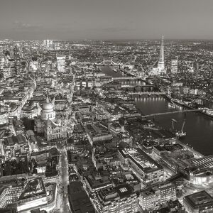 Aerial view of The Shard and City of London, London, England