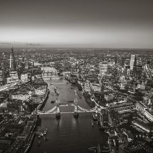 Aerial view of The Shard, River Thames, Tower Bridge and City of London, London, England