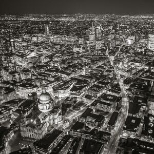 Aerial view of St. Paul's and City of London, London, England