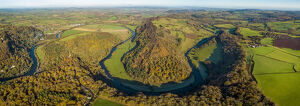 Aerial view of the Wye valley towards Ross on Wye, Symonds Yat, Forest of Dean